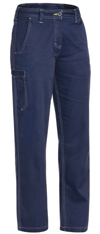 Trouser - Bisley Womens Cotton Drill 190gsm Cool Vented Lightweight Contrast Stitching Navy - 24