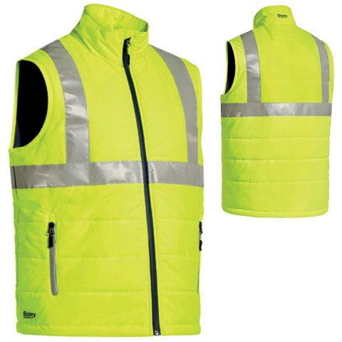 Vest - Bisley Puffer Ripstop (NOTE: CONFIRM CUSTOMER COLOUR PREFERENCE) - TPU Polyester w/ Quilt Lining HI VIS D/N c/w H Tape & Hood Yellow - 6XL