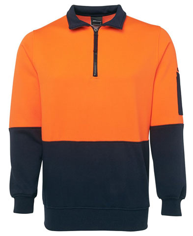Windcheater - 1/2 Zip JBs Poly/Cotton Fleecy Sweat  2 Tone HI VIS D Long Sleeve Orange/Navy - 5XL