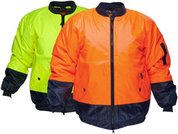 Jacket - PU/Polyester Prime Mover Bomber MJ304 Full Zip c/w Hood Waterproof Quilt Lined 2 Tone HI VIS D  Yellow/Navy - 5XL