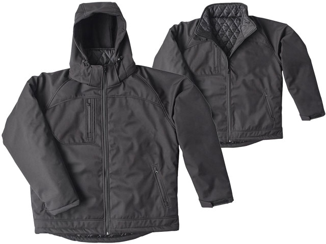 Jacket - Soft Shell Brahma Cradle Mountain Full Zip c/w Hood Water Resistant/Breathable Quilt Lined Black - 5XL