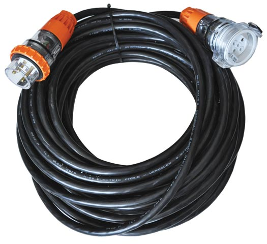 Lead - Three Phase HO7 Rubber 5 Pin Plug & Socket Lead 32A 6mm Cable - 20m