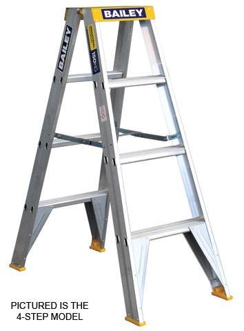 Ladder - Double Sided Aluminium Bailey Stepladder Punchlock 150kg - 3 Step 0.9M Platform