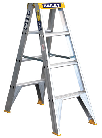 Ladder - Double Sided Aluminium Bailey Stepladder Punchlock 150kg - 4 Step 1.2M Platform