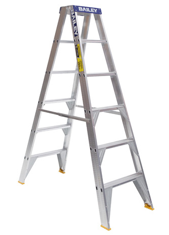 Ladder - Double Sided Aluminium Bailey Stepladder Punchlock 150kg - 6 Step 01.8M Platform
