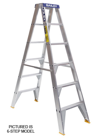 Ladder - Double Sided Aluminium Bailey Stepladder Punchlock 150kg - 8 Step 2.4M Platform