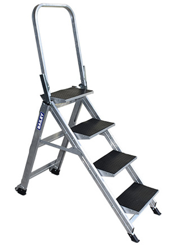Step - Stairway Aluminium Bailey Ladder 4 Step 150kg 2.89M Reach c/w Handrail