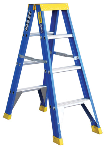 Ladder - Double Sided Fibreglass Bailey Stepladder Punchlock 150kg - 4 Step 1.2M Platform
