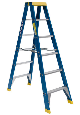 Ladder - Double Sided Fibreglass Bailey Stepladder Punchlock 150kg - 6 Step 1.8M Platform