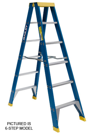 Ladder - Double Sided Fibreglass Bailey Stepladder Punchlock 150kg - 8 Step 2.4M Platform