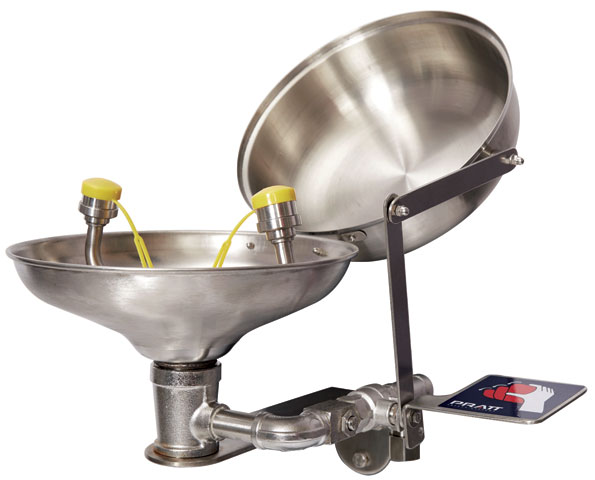 Eye Wash - Wall Mounted Pratt SE582FTL Hand Operated Flip Top Lid