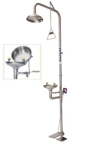 Shower/Eye Wash - Combination Pratt SE693FTL Free Standing c/w Bowl Hand/Foot Operated Flip Top Lid