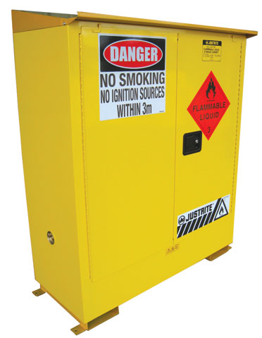Cabinet - Flammable Liquids Storage Justrite Weatherproof Outdoor Yellow - 160 Litre