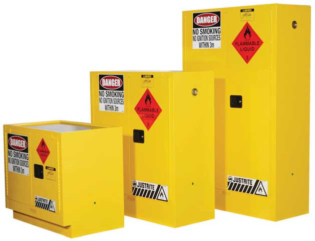 Cabinet   Flammable Liquids Storage Justrite Yellow   250 Litre
