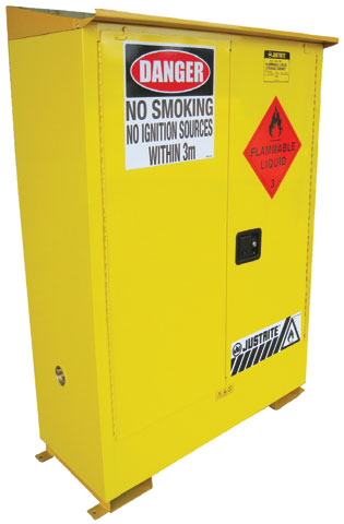 Cabinet - Flammable Liquids Storage Justrite Weatherproof Outdoor Yellow - 250 Litre