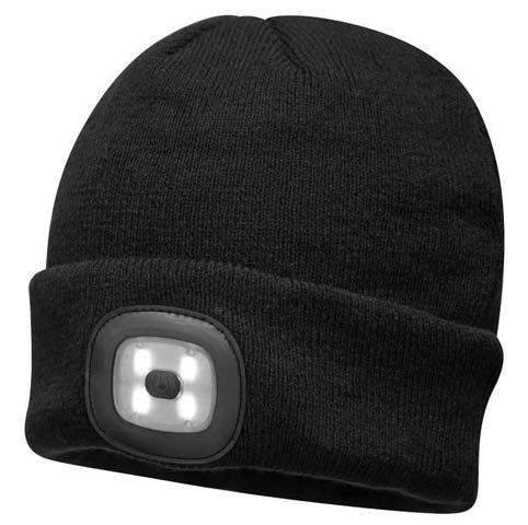 Beanie - Portwest Knit LED Head Light B029 100% Acrylic USB Rechargeable - Black