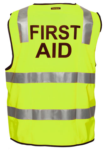 Vest - Polyester FIRST AID Print Prime Mover Zip Front Taped HI VIS D/N Yellow - 5XL