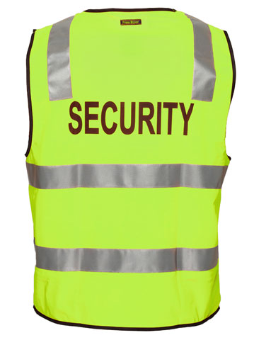 Vest - Polyester SECURITY Print Prime Mover Zip Front Taped HI VIS D/N Yellow - 5XL