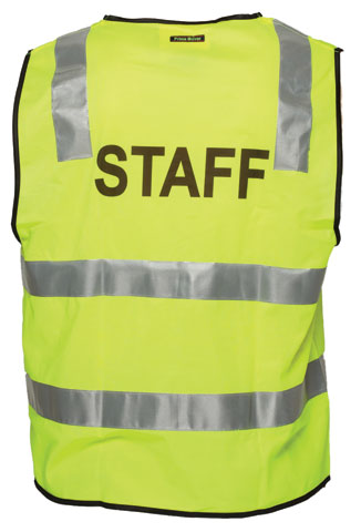 Vest - Polyester STAFF Print Prime Mover Zip Front Taped HI VIS D/N Yellow - 5XL