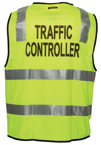 Vest - Polyester TRAFFIC CONTROLLER Print Prime Mover Zip Front Taped HI VIS D/N Yellow - 5XL