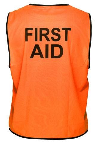 Vest - Polyester FIRST AID Print Prime Mover Velcro Front HIVIS D  Orange - 5XL