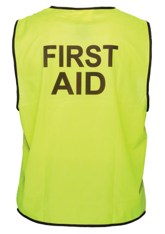 Vest - Polyester FIRST AID Print Prime Mover Velcro Front HIVIS D  Yellow - 5XL