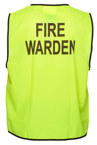 Vest - Polyester FIRE WARDEN Print Prime Mover Velcro Front HIVIS D Yellow - 5XL
