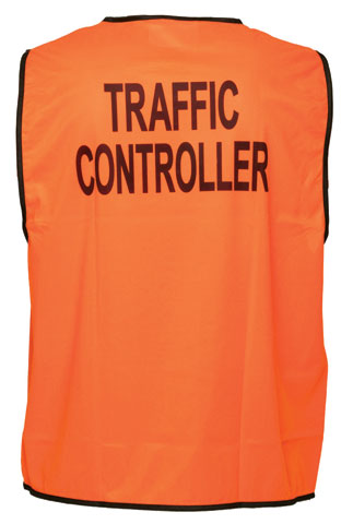 Vest - Polyester TRAFFIC CONTROLLER Print Prime Mover Velcro Front HIVIS D