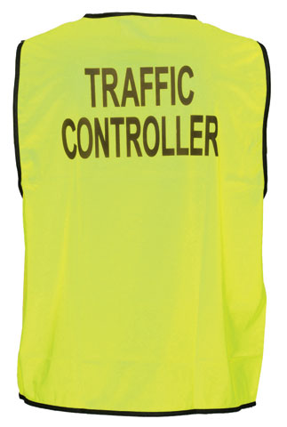 Vest - Polyester TRAFFIC CONTROLLER Print Prime Mover Velcro Front HIVIS D Yellow - 5XL