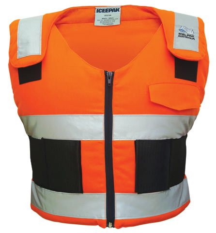 Ice Vest - Body Cooling ICEEPAK Cotton Drill c/w 4 Cryopak Inserts HI VIS Orange c/w Reflective Tape- XLarge  Size (>120KG) - XL