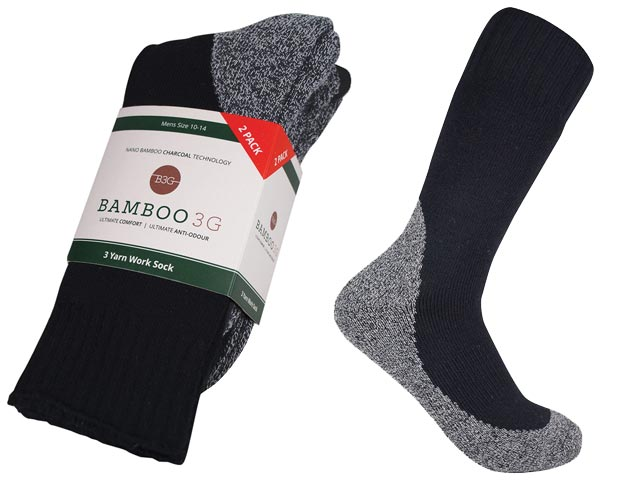 Socks - Bamboo3G Thick Work 2 Pack 3Yarn 80% / Charcoal 10% / Elastine 10% - Black 10/14