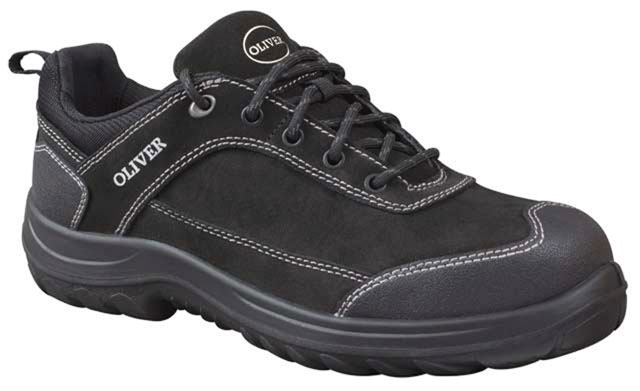 Shoe - Lace Up Safety Jogger Oliver Suede Leather DDPU Sole Water Resistant Black - 13