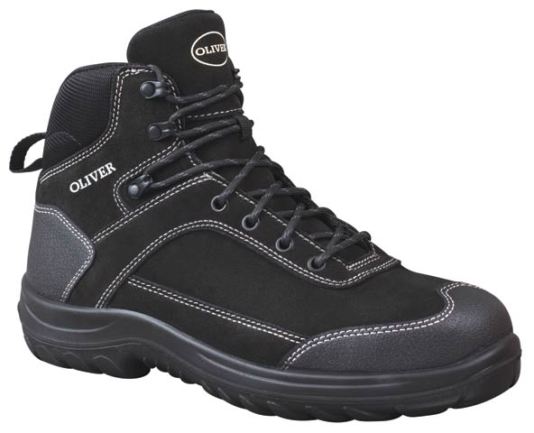 Boot - Lace Up Safety Ankle Jogger Oliver 34623 Suede Leather DDPU Sole Water Resistant Black - 4