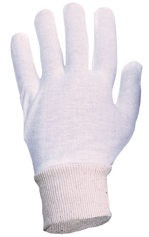 Glove - Poly/Cotton Interlock Knitwrist White - Mens