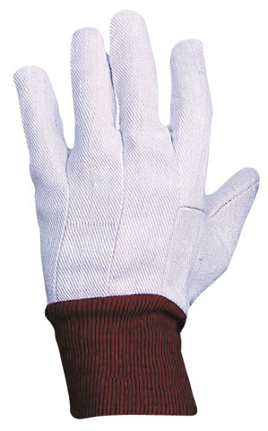 Glove - Cotton Drill ProChoice Red Knit Wrist Cuff White - Ladies