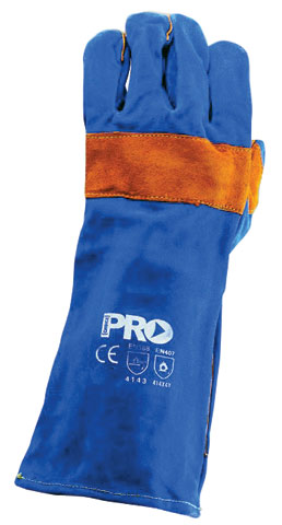 Glove - Leather Welder ProChoice PyroMate Blue Heeler Reinforced/Kevlar Sewn Blue/Gold Lined 40cm