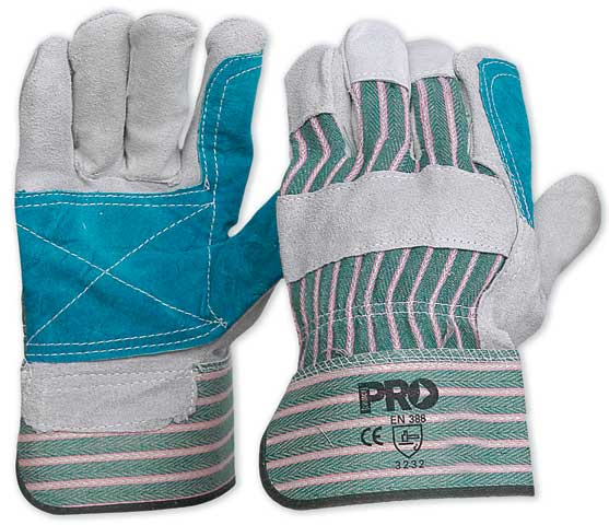 Glove - Leather Polishers Green/Grey Cotton Back Reinforced Palm