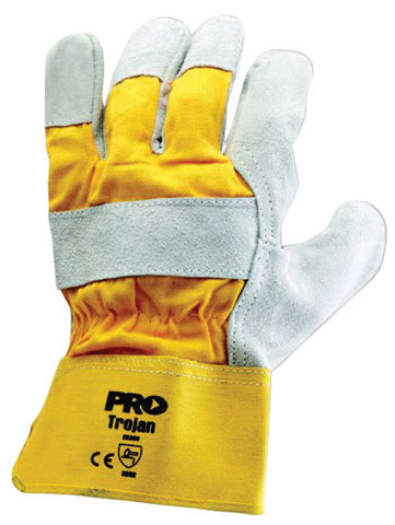 Glove - Leather ProChoice Cow Hide Palm/Yellow Cotton Back/Canvas Cuff