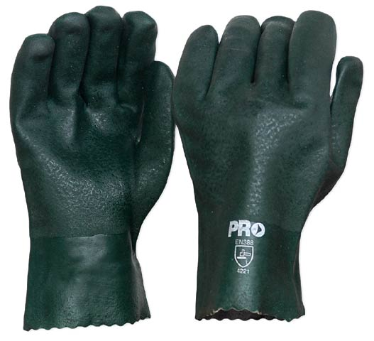 Glove - PVC 27cm Double Dipped Jersey Lined ProChoice (No Chemical Rating) Green