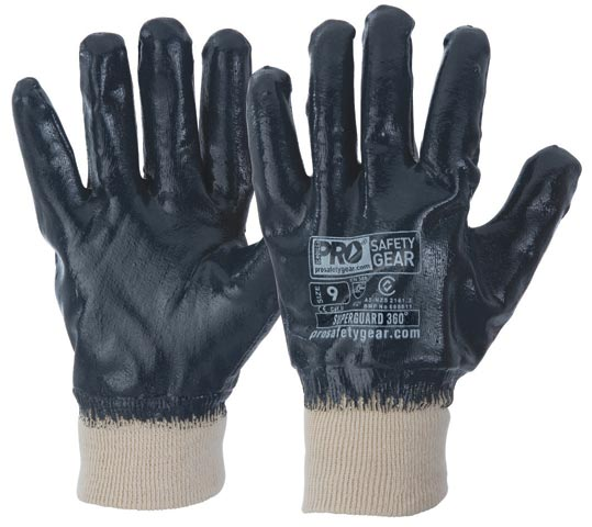 Glove - Nitrile Full Dip ProChoice SuperLite Blue Cotton Liner Knitwrist - 11