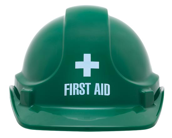 Hard Hat - Safety ABS 3M TA560 Non-Vented (Type 1) Terylene Headgear First Aid Logo - Green