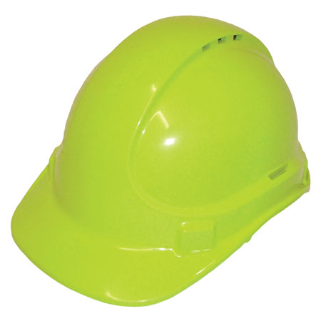 Hard Hat - Safety Polycarbonate 3M TA590 Vented (Type 2) Terylene Headgear - Fluoro Lime