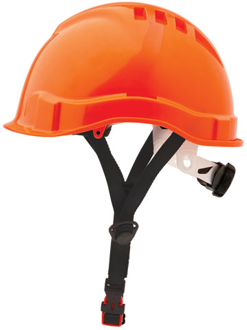 Cap - Safety ABS ProChoice Airborne Linesman Unvented Micro Peak c/w Ratchet Harness & Chin Strap - Orange