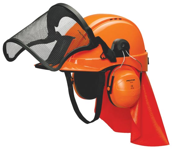 Cap Combo Kit - ABS Peltor Lumberjack c/w G2000 Cap/Mesh Visor/Ear Muffs & Rain Shield Neck Protection - Orange