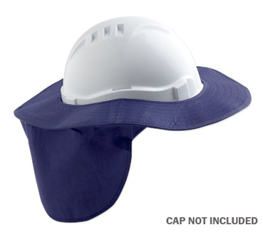 Brim - Hard Hat Style Poly/Cotton ProChoice Sun Shade c/w Neck Flap - Blue