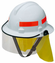 Hat - Safety Polycarbonate 3M HF44 Bushfire (Type 3) c/w Reflective Tape/Chin Strap/FR Neck Protector & Visor - White