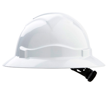 Hard Hat - Safety ABS ProChoice Full Brim V6 Unvented Ratchet Headgear - White