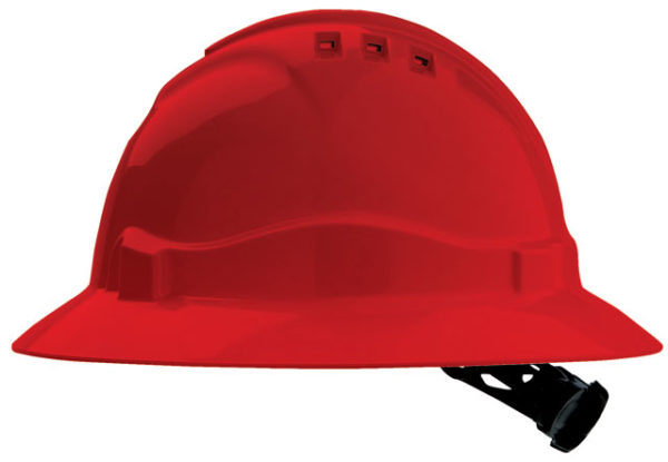 Hat - Safety ABS ProChoice Full Brim V6 Vented Ratchet Headgear - Red