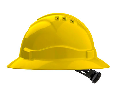 Hard Hat - Safety ABS ProChoice Full Brim V6 Vented Ratchet Headgear - Yellow
