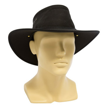 Hat - Nullarbor Standard Cotton Drill Gusset & Brim Black 64-65cm - 3XL